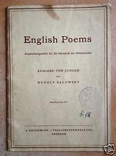 English Poems Ausgabe für Jungen Rudolf Salewsky Dresden 1942