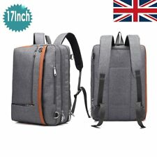 17 Inch Laptop Messenger Bag Shoulder Backpack Multi-Functional Briefcase Grey