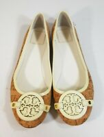 Tory Burch Women Shoes Cork Flats Brown Slip On Big Logo Loafers Size 9 M