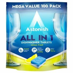 Astonish All in 1 Dishwasher Tablets Lemon Scent (Pack of 100) (C2171)