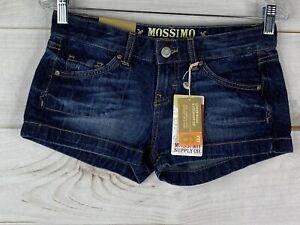 MOSSIMO Juniors 3 28x2 Womens Denim Blue Jean Shorts Low Rise Fit 6 Dark Wash