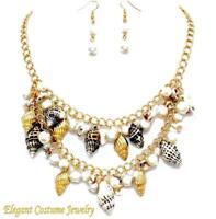 Shells & Pearl Starfish  Necklace Set Chunky Elegant Beach Jewelry