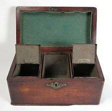 18th century Georgian mahogany tea caddy and toleware canister inserts