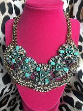 Betsey Johnson HUGE Patina Oxidized Copper Bib Turquoise Skull Rose Necklace