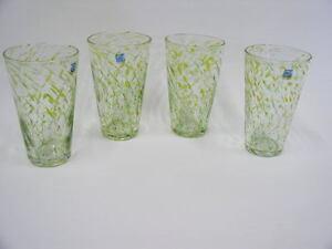 4 Hand Blown 16 oz Amici Tumbler Glasses Yellow & Light Green Streaked Swirls