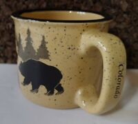 Colorado 12oz Thick Wall Coffee Mug Cup Tan & Black Trees & Black Bears Speckled