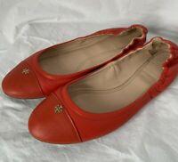 Tory Burch York Leather Cap-Toe Ballerina Flat, Tory Orange  Size 11M