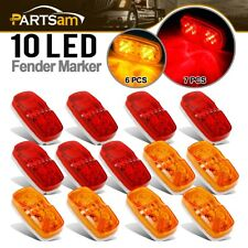 13x Trailer Marker LED Light Double Bullseye Amber/Red 10LED Clearance Light