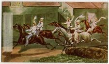 Early Steeplechase Origin History Horse Racing Sport 1930s Trade Ad Card