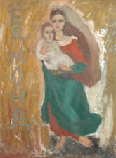 Vintage Expressionist Oil Painting Portrait woman and child