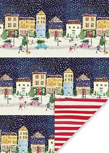 Glick Festive Street Christmas Double Sided Gift Wrap Sheets x2 Paper/WLX02