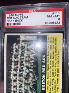 1956 Topps Red Sox Team Gray Back  #111 PSA 8 Perfect