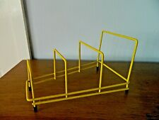 Vintage Retro Plate Rack /Record Holder Yellow Plastic Coated Wire