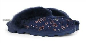 UGG Coquette Zodiac Starry Night Suede Fur Slippers Womens Size 8 *NIB*