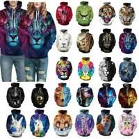 3D Print Mens Women Wolf Print Hoodie Sweatshirt Pullover Coat Casual Hoody Tops