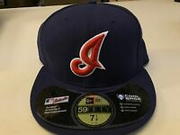 """NWT CLEVELAND INDIANS """"I"""" RETRO NAVY ONFIELD FLAT BRIM NEW ERA 5950 FITTED HAT"""