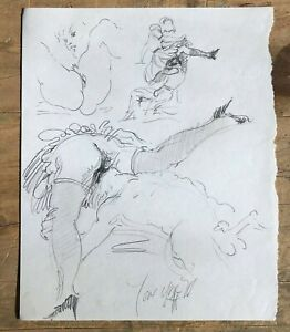 Harry Carmean Original Erotic Suggestive Drawing Sketches Artwork Signed Pencil