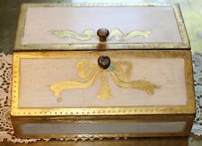 Vtg Florentia Italy Gilt Gold Leaf Tole Wood Hand Painted Trinket Jewelry Box