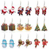 Acrylic Printing Christmas Tree Bell Snowman Dangle Earrings Xmas Women Jewelry