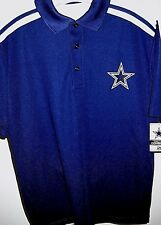 DALLAS COWBOYS ADULT SMALL ( S ) BLUE & WHITE BUTTON-UP EMBROIDERED POLO SHIRT