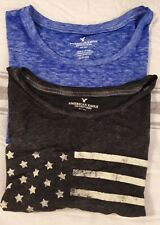AMERICAN EAGLE  Shirts Sz Small LOT OF 2 Half Crop Sheer Flag EUC