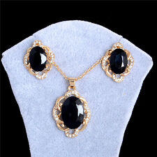 New Charm 18k Gold Plated Black Crystal Rhinestone Necklace+Earrings Jewelry Set