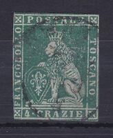 ROW127) Italian States: Tuscany 1851-59 Arms 4cr Green/grey imperf