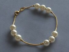 """7 1/4""""  GOLD FILLED BRACELET w/ 8mm PEARLS ON SNAKE CHAIN"""