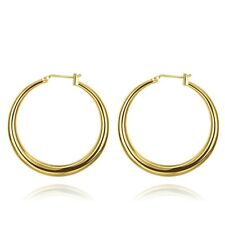 14k White Gold 2mm Thickness Classic High Polished Hinged Hoop Earrings