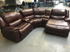 SOFOLOGY LEATHER CORNER SOFA IN BROWN FULL LEATHER