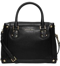 NWT MICHAEL Michael Kors Taryn Medium Black Gold Satchel~MSRP $368