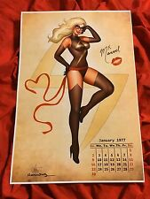 MS MARVEL CAROL DANVERS~SEXY CALENDAR PIN UP GIRL~ART PRINT~SIGNED NATHAN SZERDY