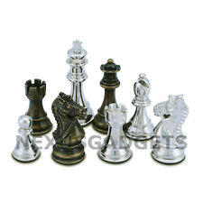 Frem Chess PIECES ONLY Metal Set, LARGE 3.75 Inch King, EXTRA QUEENS, NO BOARD