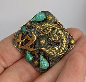 Art Deco Brooch Neiger Brothers Czech Peking Glass - Chinese Dragon design