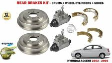 FOR HYUNDAI ACCENT LC 2002-2006 2 X REAR BRAKE DRUMS + SHOES + WHEEL CYLINDERS