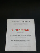 BEDIKIAN K. carton Gal. Bernheim-Jeune 1950 ARMENIE LIBAN MARSEILLE TURQUIE ART