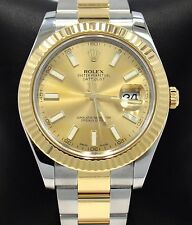 Rolex Datejust II 116333 41mm 18K Yellow Gold /SS Champagne Dial Watch *MINT*