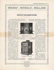 Heemaf Gelijkrichters  • 1920 • Dutch Brochure  • Rare Original Vintage