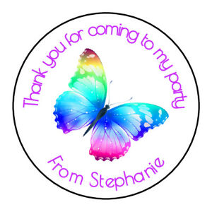 Butterfly Personalised Thank You Sticker Party Bag Sweet Cone Birthday Label