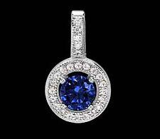 925 ECHT SILBER RHODINIERT *** Anhänger Zirkonia safir saphir blau 16 mm