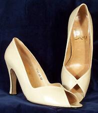 Nib! Boy Beige Italian Leather Peep-Toe Heels 40 9.5 M