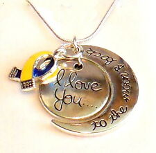 Down Syndrome Awareness Necklace Love you to the moon IN GIFT BOX Silver