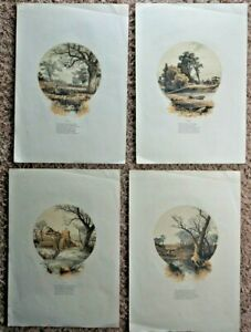 Set Charles Maurand, Hand colored etching, four seasons, keyhole images, poems