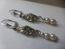 Art Deco style silver plate diamante pearl drop earrings vintage necklace match