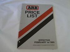 ARB 4X4 ACCESSORIES Price List 1993