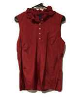Tommy Hilfiger Womens Crimson Red Sleeveless Blouse Large