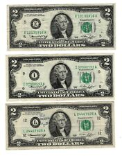 US $2 Green Seal Certificate/Bank Notes, 3 NOTES, 1976, Series E, I, L, US007-A