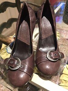 Brown Leather Brass Buckle Dior Heels