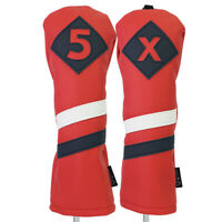 Majek Retro Golf #5 & X Fairway Wood Headcover Red White Blue Leather Style