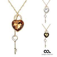 Damen Halskette mit großem Herz und Schlüssel Anhänger Kette Heart vergoldet